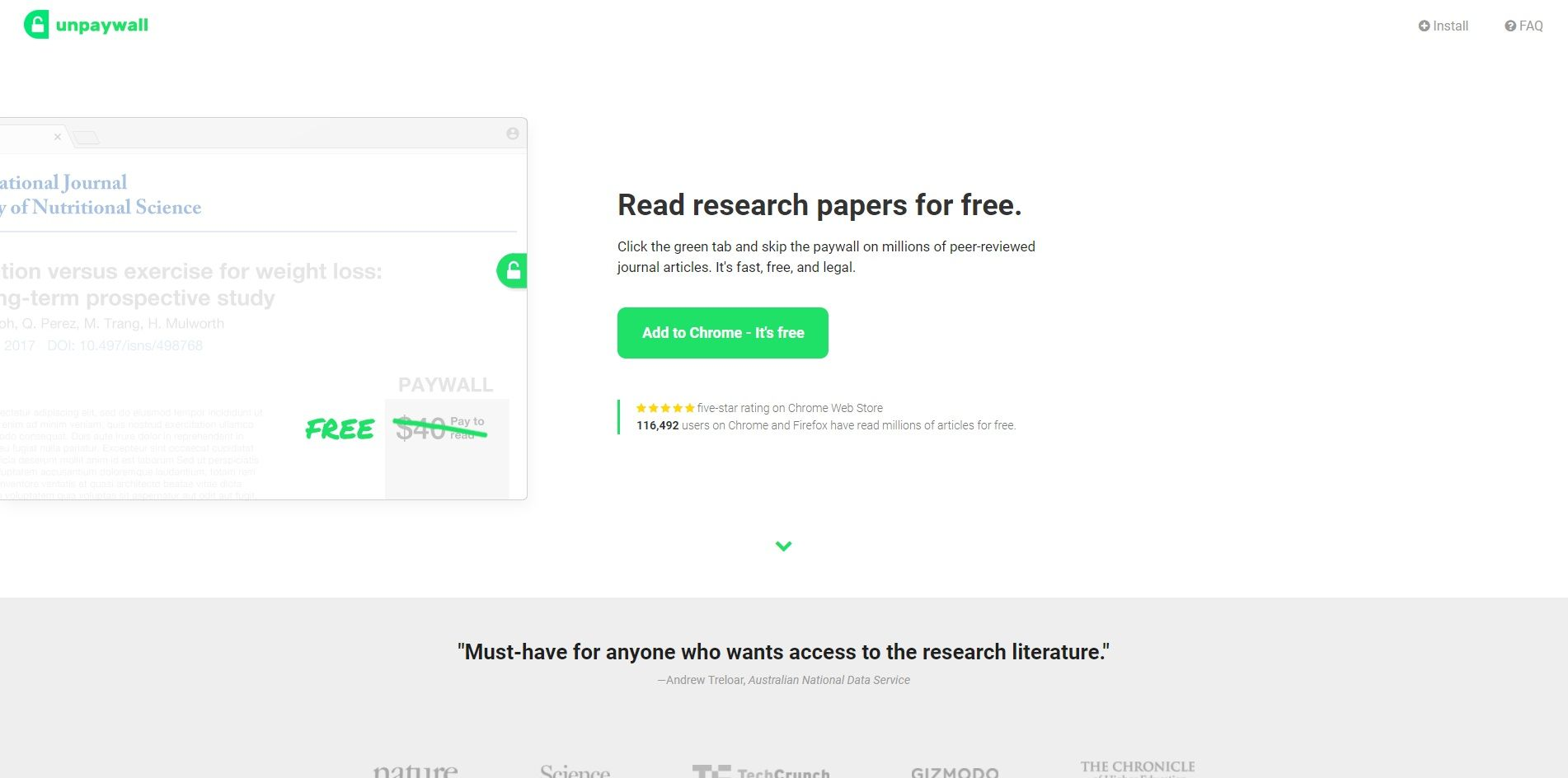 Unpaywall research tool